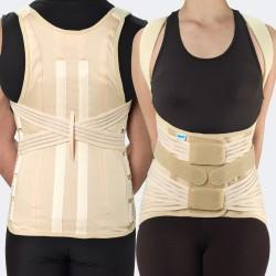 Modello 537 M/F CampONE corsetto semirigido dorsolombare con spallacci, rinforzi paravertebrali e 4 tiranti pelvici