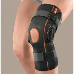 Genufit25 ginocchiera corta tubolare in tessuto AirX con aste articolate policentriche con regolazione f-e