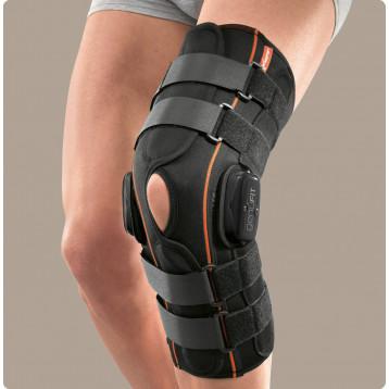 Genufit27a ginocchiera lunga aperta in tessuto AirX con aste articolate policentriche con regolazione f-e