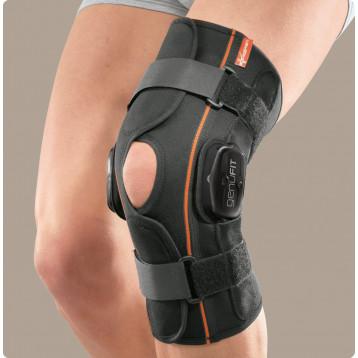 Genufit25a ginocchiera corta aperta in tessuto AirX con aste articolate policentriche con regolazione f-e