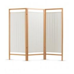 Paravento in legno 3 ante+cotone cm192x170h