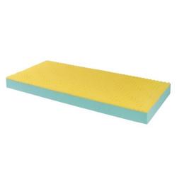 Materasso in poliuretano bicomponente a sezione unica forato e bugnato