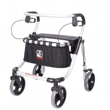 Deambulatore in alluminio pieghevole e regolabile con quattro ruote di cui due con freni