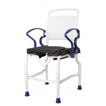 Sedia da doccia e toilette con sedile imbottito dotato di foro per igiene - Ulm