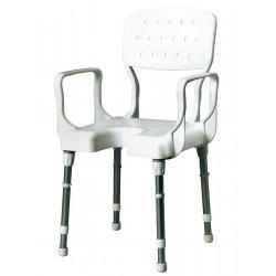 Sedia da doccia in alluminio, seduta completa di schienale e braccioli in pvc - Nizza