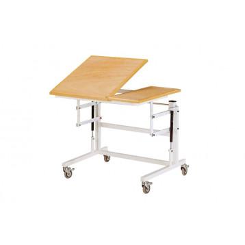 Tavolo occupazionale con il piano destro inclinabile fino 45° e il piano sinistro fisso