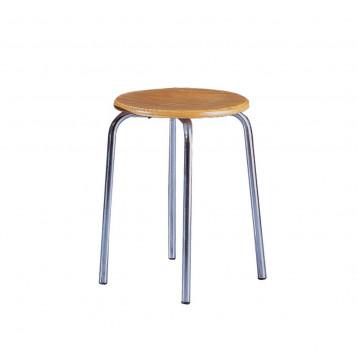 Sgabello ad altezza fissa, in acciaio cromato con seduta in faggio