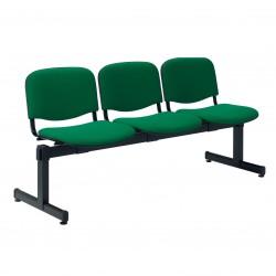 Sedia a tre posti affiancati, con telaio in acciaio ovale verniciato
