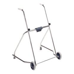 Deambulatore in acciaio cromato, pieghevole, con due ruote e due puntali