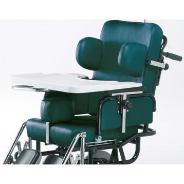 Tavolino per disabili in laminato plastico con incavo e bordi, ribaltabile