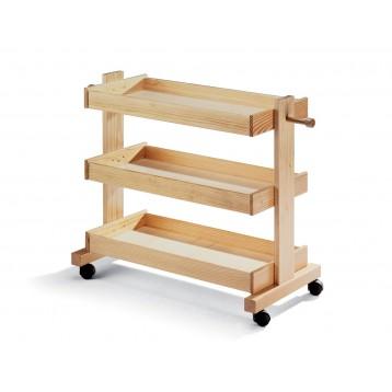 Carrello in legno con ripiani in multistrati e ruote piroettanti (vuoto)
