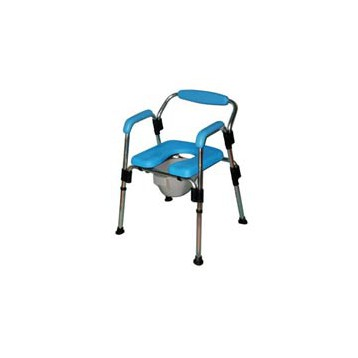 Sedia da doccia e da comodo con imbottiture in poliuretano regolabile in altezza