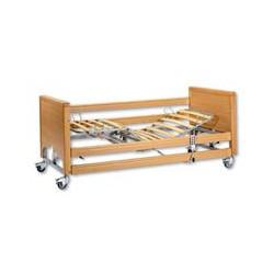Letto elettrico ad altezza variabile con sponde in legno e alzamalati ad innnesto