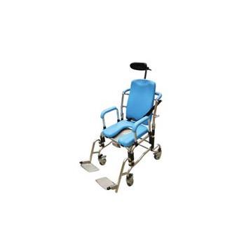 Sedia da doccia e da comodo con imbottiture in poliuretano, schienale reclinabile e poggiatesta