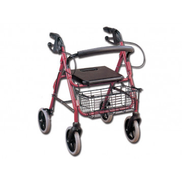 Deambulatore a 4 ruote con sedile e cestino