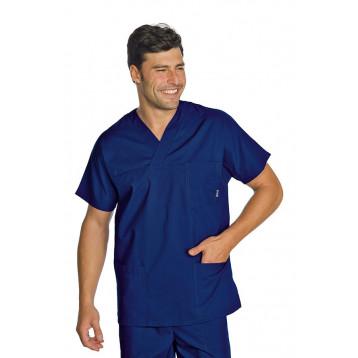 Casacca Collo A V Blu Unisex Cotone