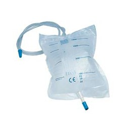 Sacche urina da letto da 2 litri con scarico e valvola antireflusso (tubo 90 cm)