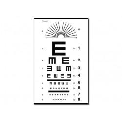 "TAVOLA OPTOMETRICA TUMBLING ""E"" 28 x 56 - 6,1 m"